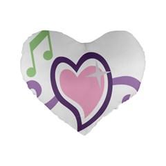 Sweetie Belle s Love Heart Star Music Note Green Pink Purple Standard 16  Premium Heart Shape Cushions by Alisyart