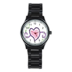 Sweetie Belle s Love Heart Star Music Note Green Pink Purple Stainless Steel Round Watch by Alisyart