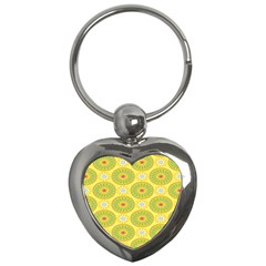 Sunflower Floral Yellow Blue Circle Key Chains (heart)  by Alisyart