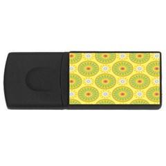 Sunflower Floral Yellow Blue Circle Usb Flash Drive Rectangular (4 Gb) by Alisyart