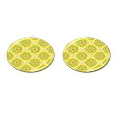 Sunflower Floral Yellow Blue Circle Cufflinks (oval) by Alisyart