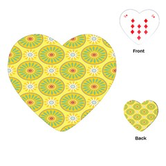 Sunflower Floral Yellow Blue Circle Playing Cards (heart)  by Alisyart