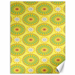 Sunflower Floral Yellow Blue Circle Canvas 36  X 48   by Alisyart