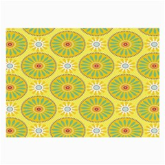 Sunflower Floral Yellow Blue Circle Large Glasses Cloth (2 Side) by Alisyart
