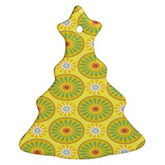 Sunflower Floral Yellow Blue Circle Ornament (christmas Tree)  by Alisyart