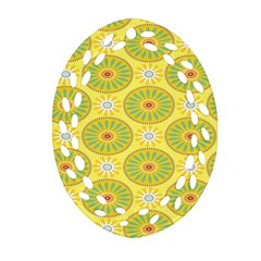 Sunflower Floral Yellow Blue Circle Ornament (oval Filigree) by Alisyart