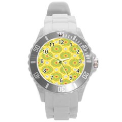 Sunflower Floral Yellow Blue Circle Round Plastic Sport Watch (l) by Alisyart