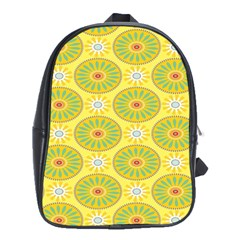 Sunflower Floral Yellow Blue Circle School Bags (xl)  by Alisyart