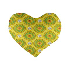 Sunflower Floral Yellow Blue Circle Standard 16  Premium Flano Heart Shape Cushions by Alisyart