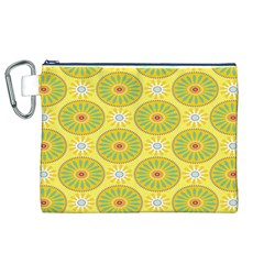 Sunflower Floral Yellow Blue Circle Canvas Cosmetic Bag (xl) by Alisyart