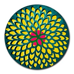 Sunflower Flower Floral Pink Yellow Green Round Mousepads by Alisyart
