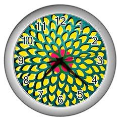 Sunflower Flower Floral Pink Yellow Green Wall Clocks (silver)  by Alisyart