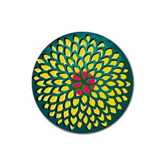 Sunflower Flower Floral Pink Yellow Green Rubber Round Coaster (4 Pack)  by Alisyart