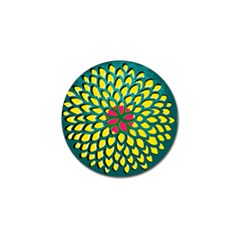 Sunflower Flower Floral Pink Yellow Green Golf Ball Marker (10 Pack) by Alisyart
