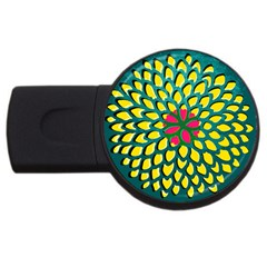 Sunflower Flower Floral Pink Yellow Green Usb Flash Drive Round (2 Gb) by Alisyart