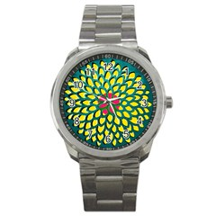 Sunflower Flower Floral Pink Yellow Green Sport Metal Watch by Alisyart