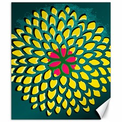 Sunflower Flower Floral Pink Yellow Green Canvas 20  X 24   by Alisyart