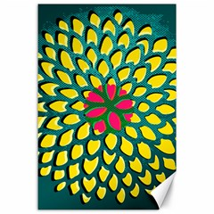 Sunflower Flower Floral Pink Yellow Green Canvas 24  X 36  by Alisyart