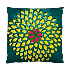 Sunflower Flower Floral Pink Yellow Green Standard Cushion Case (two Sides) by Alisyart