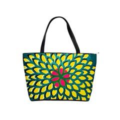Sunflower Flower Floral Pink Yellow Green Shoulder Handbags by Alisyart