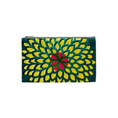 Sunflower Flower Floral Pink Yellow Green Cosmetic Bag (small)  by Alisyart