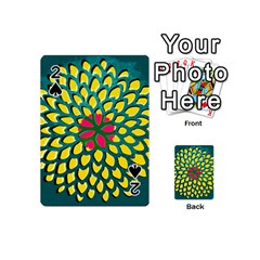 Sunflower Flower Floral Pink Yellow Green Playing Cards 54 (mini)  by Alisyart