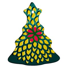Sunflower Flower Floral Pink Yellow Green Christmas Tree Ornament (two Sides) by Alisyart