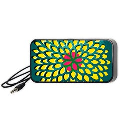 Sunflower Flower Floral Pink Yellow Green Portable Speaker (black) by Alisyart