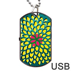 Sunflower Flower Floral Pink Yellow Green Dog Tag Usb Flash (two Sides) by Alisyart