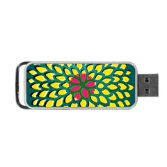 Sunflower Flower Floral Pink Yellow Green Portable Usb Flash (one Side) by Alisyart