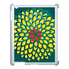 Sunflower Flower Floral Pink Yellow Green Apple Ipad 3/4 Case (white) by Alisyart