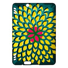 Sunflower Flower Floral Pink Yellow Green Kindle Fire Hdx Hardshell Case by Alisyart