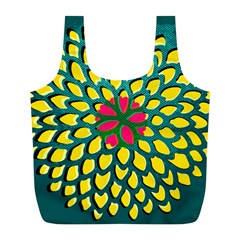 Sunflower Flower Floral Pink Yellow Green Full Print Recycle Bags (l)  by Alisyart
