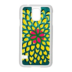 Sunflower Flower Floral Pink Yellow Green Samsung Galaxy S5 Case (white) by Alisyart