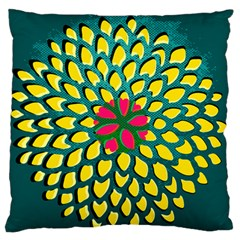 Sunflower Flower Floral Pink Yellow Green Standard Flano Cushion Case (two Sides) by Alisyart