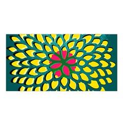 Sunflower Flower Floral Pink Yellow Green Satin Shawl by Alisyart