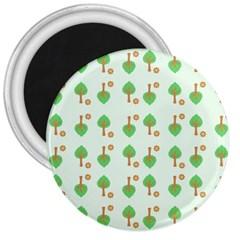 Tree Circle Green Yellow Grey 3  Magnets by Alisyart