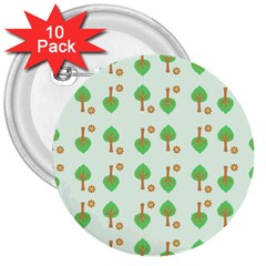 Tree Circle Green Yellow Grey 3  Buttons (10 Pack)  by Alisyart