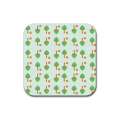 Tree Circle Green Yellow Grey Rubber Square Coaster (4 Pack)  by Alisyart
