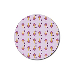 Tree Circle Purple Yellow Rubber Round Coaster (4 Pack)  by Alisyart
