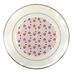 Tree Circle Purple Yellow Porcelain Plates by Alisyart