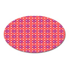 Roll Circle Plaid Triangle Red Pink White Wave Chevron Oval Magnet by Alisyart