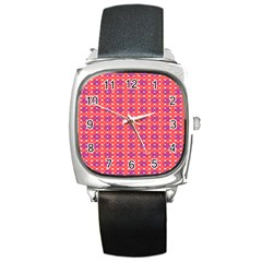 Roll Circle Plaid Triangle Red Pink White Wave Chevron Square Metal Watch by Alisyart