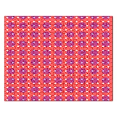 Roll Circle Plaid Triangle Red Pink White Wave Chevron Rectangular Jigsaw Puzzl by Alisyart