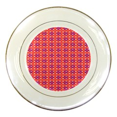 Roll Circle Plaid Triangle Red Pink White Wave Chevron Porcelain Plates by Alisyart
