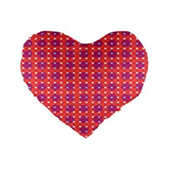Roll Circle Plaid Triangle Red Pink White Wave Chevron Standard 16  Premium Flano Heart Shape Cushions by Alisyart