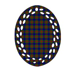 Tartan Fabrik Plaid Color Rainbow Oval Filigree Ornament (two Sides) by Alisyart