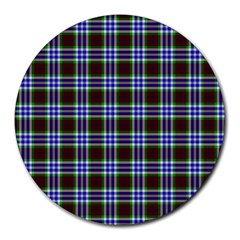 Tartan Fabrik Plaid Color Rainbow Triangle Round Mousepads by Alisyart