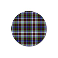 Tartan Fabrik Plaid Color Rainbow Triangle Magnet 3  (round) by Alisyart