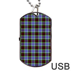 Tartan Fabrik Plaid Color Rainbow Triangle Dog Tag Usb Flash (one Side) by Alisyart